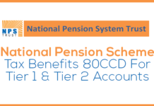 National Pension Scheme Tax Benefits 80CCD For Tier 1 & Tier 2 Accounts