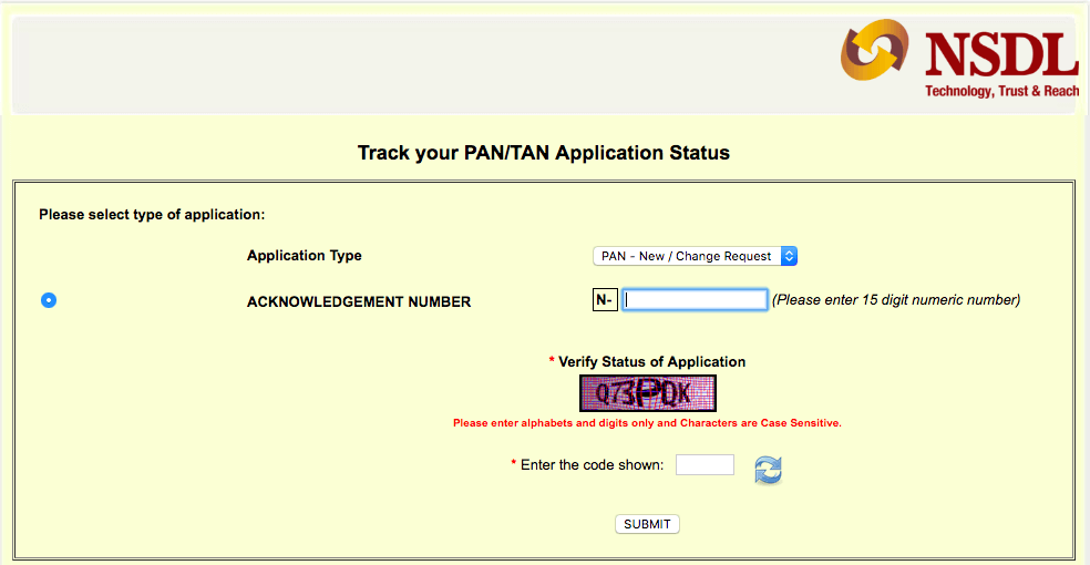 Pan Card Status by Name And Date of Birth - NSDL Website